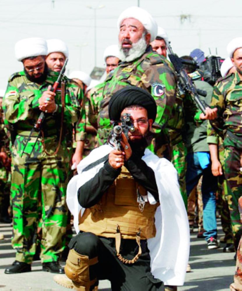 عناصر الحشد في تدريبات عسكرية شمال الموصل. (متداولة)