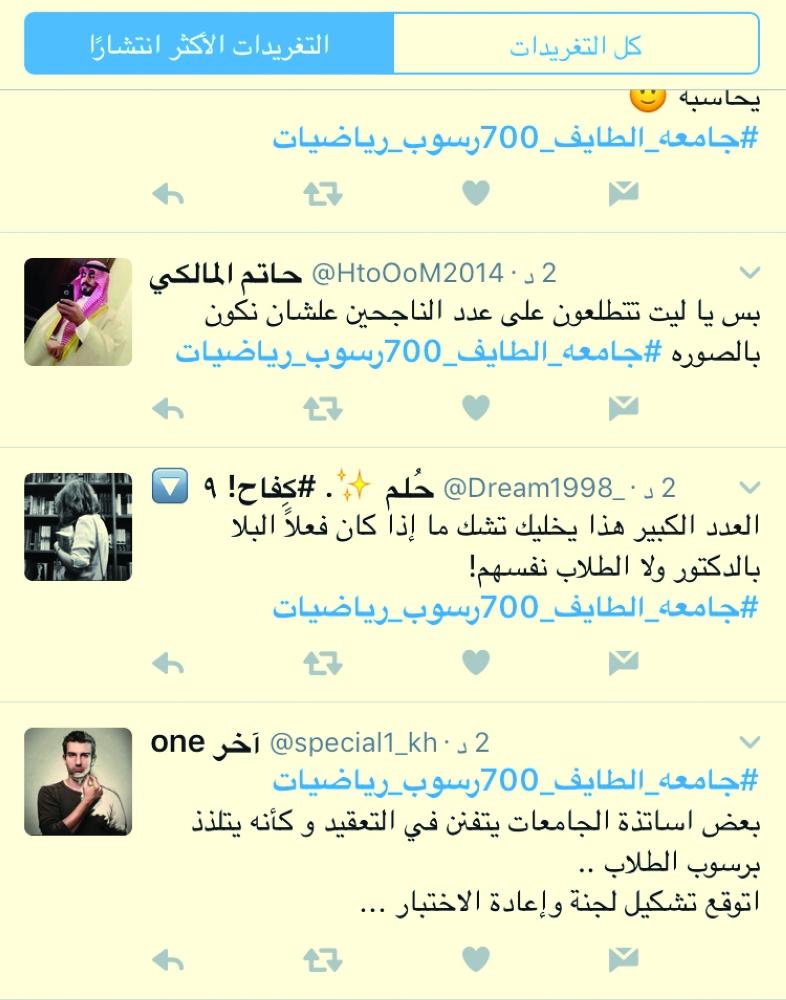 ضوئية لتغريدات في هاشتاق الرسوب.