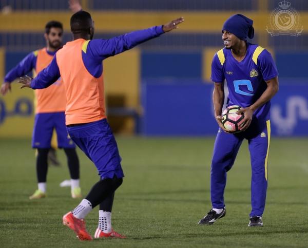 عبد العزيز الجبرين في تدريبات النصر أمس. (المركز الإعلامي)