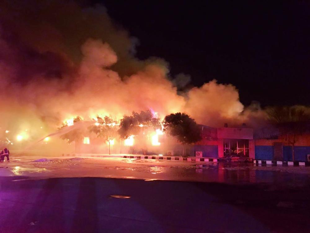 حريق الميناء الصناعي في ينبع.